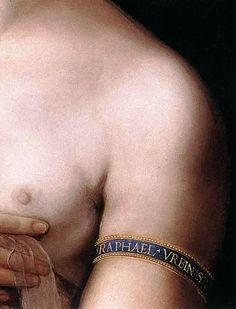 Raphael. Fornarina. c.1519. detail of arm band