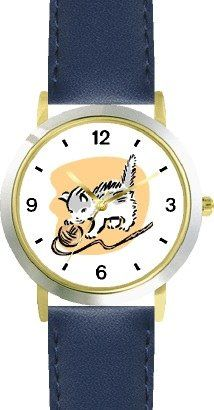 Kitten Playing with Ball of Yarn Cat  WATCHBUDDY DELUXE TWOTONE THEME WATCH  Arabic Numbers  Blue Leather StrapSizeLarge  Mens Size or Jumbo Womens Size  -- Read more at the image link. (This is an affiliate link) #BallWatchforMen