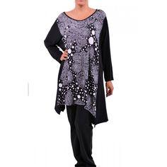 Μπλούζα από jersey ελαστικό μαύρο και πουά jersey εμπρός. Συνθ.:92%POL 8%SPAN Plus Size Blouses, Tunic Tops, Women, Fashion, Moda, Fashion Styles, Fashion Illustrations, Woman