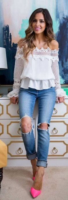#spring #street #fashion #outfitideas | White Lace OTS Top + Ripped Denim + Pink Heels | Mia Mia Mine