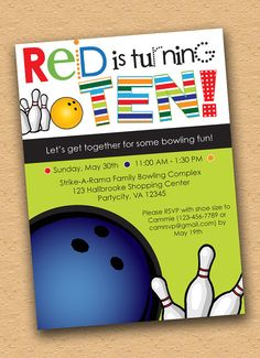 Let's Bowl  Kids Bowling Party Invitation by inkberrycards on Etsy, $18.00