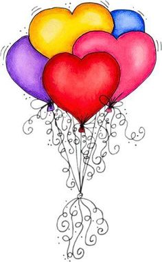c Heart balloons Happy Birthday, Birthday Greetings, Birthday Wishes, Birthday Cards, Doodles, Heart Balloons, Happy Balloons, I Love Heart, Happy Heart
