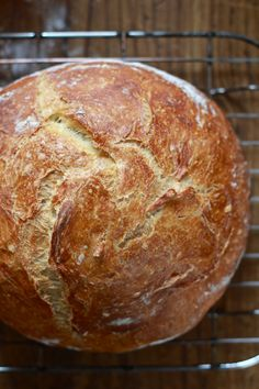 [ Recipe & HOW TO: No-Knead Artisan Bread ] Using bread flour, instant yeast, sea salt, and water. ~ TheCleverCarrot.com