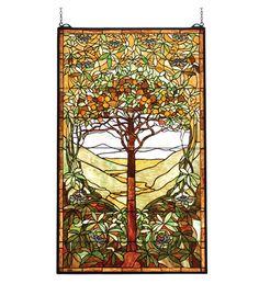 """Meyda 29""""W X 48""""H Tiffany Tree Of Life Stained Glass Window"""