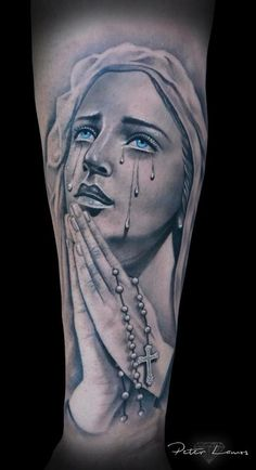 Amazing Virgin Mary with Rosary Tattoo. Part of my religious tattoo sleeve.