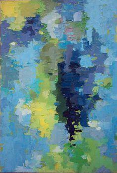 Island Escape - Original Ölgemälde in hell und gesättigte Gelbtöne, grün, Cyan und blau (40 x 60 cm - ca. 16 x 24 Zoll)