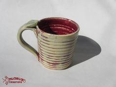 Ceramic Mug  Red and Grey by MudbugCreations on Etsy, $15.00