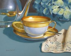 "Daily Paintworks - ""Tea Cup with Napkin"" - Original Fine Art for Sale - © Nance Danforth"