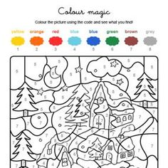 Colour by numbers : Noël sous la neige Christmas Color By Number, Christmas Colors, Christmas Fun, Color By Number Printable, Christmas Coloring Sheets, Activities For Kids, Crafts For Kids, Color By Numbers, Color Magic