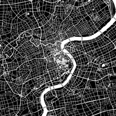 Shanghai, China, downtown vector map. Art print pattern. White streets, railways and water on black. Bigger bridges with outlines. This map will show... ... #map #downloadable #background #vector #design