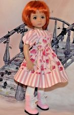 """OOAK """"Sweetheart Roses"""" Dress fits Little Darling Doll by Dianna Effner"""