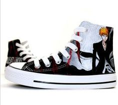 Bleach Ichigo Kurosaki Anime Shoes Painted Canvas Shoes,High-top Painted Canvas Shoes