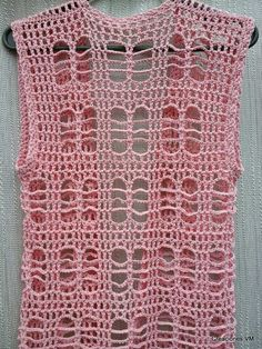 chaleco calado tejido a crochet. verano. playa.