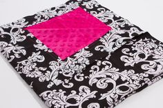 Black and White Damask with Pink Dot Minky by SewAwesomeShop, $30.00