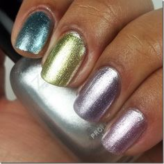 Check the looks out over multi-color glitter base, monochrome... um... chrome, and plain. Just on its own it is super-glossy. It would probably do a good job holding the chunky glitter down on the last set...