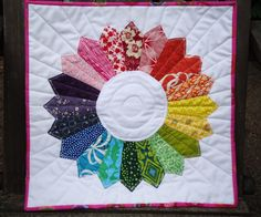 Color wheel Dresden Plate mini quilt at Terri's Notebook