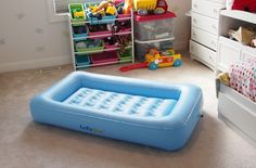 LazyNap LZ-04K Kids / Toddlers Air Mattress with Wrap-Around Bumpers, Soft Cover. Awesome product to have for your kids when traveling on vacation, going camping, hosting sleepovers, or just simply taking a nap! Convenient travel bag included.