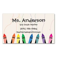 Teacher Crayons Business Card. This is a fully customizable business card and available on several paper types for your needs. You can upload your own image or use the image as is. Just click this template to get started!