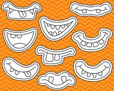 Monster Grins Digital Stamps, Cute Monster Smiles Digital Clipart, Monster Faces Line Art, Printable