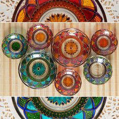 RichanaDragon ||| Glass plates with mandala pattern are suitable for home decor as fantasy bowl candle holders or for Summer dining as outdoor dinnerware. Hand painted stained glass.