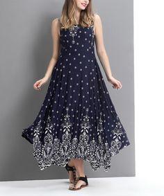 This Navy Suzani Handkerchief Maxi Dress is perfect! #zulilyfinds