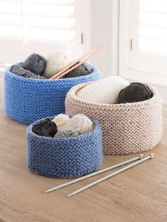 Free Knitting Pattern for Garter Stitched Baskets - Easy baskets in 3 sizes. Quick knit in chunky yarn. Finished sizes: Small: 6 x Medium: x Large: 13 x This pattern was featured in Season 9 of Knit and Crochet Now! and is free at Annie's Loom Knitting, Knitting Needles, Knitting Patterns Free, Knit Patterns, Free Knitting, Knitting And Crocheting, Knitting Stitches, Knit And Crochet Now, Single Crochet
