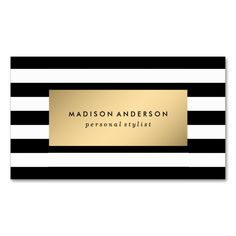 Chic Stripes in Gold | Business Cards. Make your own business card with this great design. All you need is to add your info to this template. Click the image to try it out!