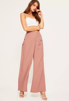 Missguided More Pants * Missguided * * button side wide pants /PINK 5