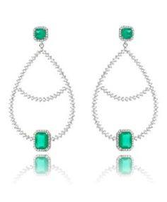 comprar brinco para festa esmeralda com zirconias cristais e banho de rodio semi joias de luxo