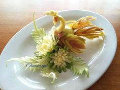 Art of Fruit and Vegetable Carving Part 28 Apple Swan and flowers