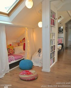 girls loft bed with desk . girls loft bed with slide Attic Bedroom Kids, Attic Bedrooms, Bedroom Loft, Home Decor Bedroom, Girls Bedroom, Bedroom Furniture, Teenage Bedrooms, Loft Beds, Rustic Furniture
