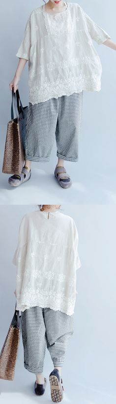 summer white casual tops linen stylish embroidery pullover bracelet sleeved t shirt