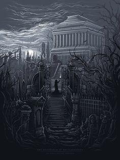 The Mausoleum at Halicarnassus [The Seven Ancient Wonders] by Dan Mumford Dan Mumford, Feliz Halloween, Art Assignments, Arte Horror, Dark Fantasy Art, Geek Art, Fantasy Landscape, Wonders Of The World, Pop Art