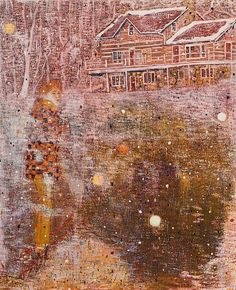 """Peter Doig (b. """"Pink Snow"""" 1991 Oil on canvas, x x 198 cm). Museum of Modern Art, New York, NY Peter Doig, Contemporary Landscape, Contemporary Paintings, Landscape Art, Landscape Paintings, House Paintings, Pink Snow, Painting Snow, Magic Realism"""