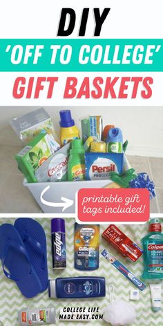 Going to College Gift Baskets: 3 Easy DIY Ideas for Boys, College Dorm Gifts, Graduation Gifts, Graduation Parties, Graduation Decorations, Graduation Ideas, College Gift Baskets, Free Printable Gift Tags, Gifts For Boys, Fun Gifts