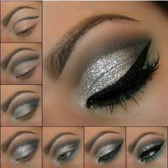 If you would like transform your eyes and increase your good looks, having the best eye make-up tips and hints will help. You'll want to make sure to put on make-up that makes you start looking even more beautiful than you are already. Silver Eye Makeup, Dramatic Eye Makeup, Dramatic Eyes, Makeup For Brown Eyes, Silver Eyeshadow Looks, Sparkly Eye Makeup, Sparkly Eyeshadow, New Year's Makeup, Eye Makeup Tips