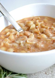Amazing and authentic pasta e fagioli! Made with pureed beans, rosemary, broth, and pancetta. The flavors in this soup are amazing! There are a few versions of pasta e fagioli, and this is hands down my favorite. Pasta Recipes, Soup Recipes, Cooking Recipes, Healthy Recipes, Italian Soup, Italian Dishes, Italian Pasta, Pasta Fagioli Recipe, Recipe Pasta