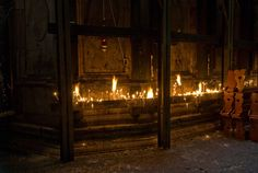 Lit Candles in the Church of the Holy Sepulchre, Jerusalem, Israel