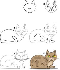 Exciting Learn To Draw Animals Ideas. Exquisite Learn To Draw Animals Ideas. Drawing Skills, Drawing Lessons, Cat Drawing, Drawing For Kids, Art Lessons, Painting & Drawing, Art For Kids, Doodle Drawings, Cartoon Drawings