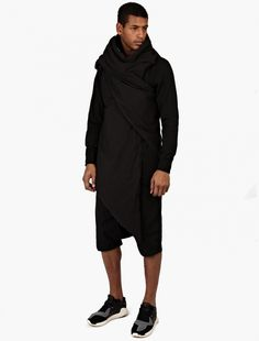 Rick Owens Drkshdw,Black Wrap-Around Down Gilet,BLACK,3