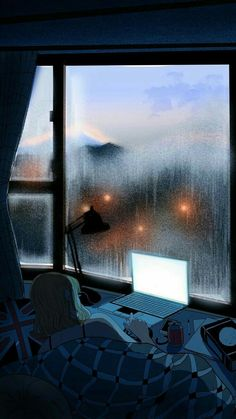 Night Aesthetic, Aesthetic Art, Aesthetic Pictures, Aesthetic Anime, Rainy Wallpaper, Scenery Wallpaper, Wallpaper Ideas, Night Vibes, Baby Drawing