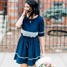 Beautiful blue dress with lace Molly Bracken shows it's french identity and european personality in this boho-chic dress. With a loose fit and a top that can be cinched in the waist, you can style this dress in many different ways. Would look perfect with a pair of espadrilles and a baguette underneath the arm. 100% polyester length 36 in (size L) Molly bracken Dresses