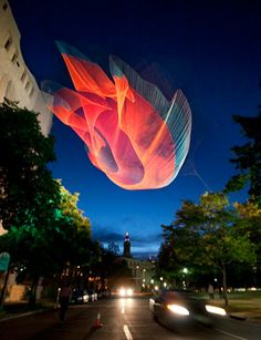 "Janet Echelman ""1.26"" Sculpture Project, Denver Art Museum"