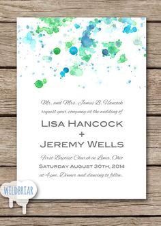 Watercolor Printable Wedding Invitation, Paint Splatter, blue ...