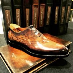 Celebrating their 120th anniversary, Berluti display true art with delicate shoe inscriptions #Harrods #berluti #mensshoes