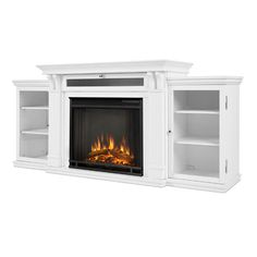 Real Flame Calie White Metal Fireplace Entertainment Center - 19037142 - Overstock - Great Deals on Real Flame Indoor Fireplaces - Mobile Metal Fireplace, White Entertainment Center, Tv Media Stands, Home, White Fireplace, Indoor Fireplace, Fireplace Tv Stand, Fireplace, Fireplace Entertainment