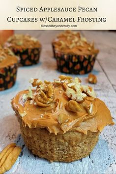 Spiced Applesauce Pecan Cupcakes w/Caramel Frosting (gluten free option included in the recipe) - a perfect fall dessert with all of those delicious fall flavors!  #blessedbeyondcrazy #glutenfree #cupcakes