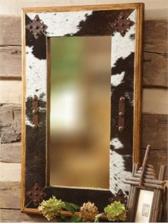 southwest style mirror | cowhide mirror with metal medallions cowhide mirror with metal ...