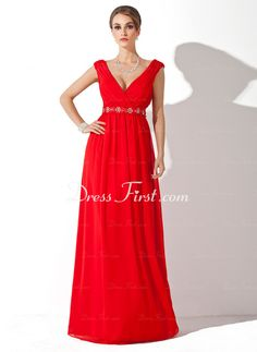 A-Line/Princess V-neck Floor-Length Chiffon Mother of the Bride Dress With Ruffle Beading (008006268) - DressFirst