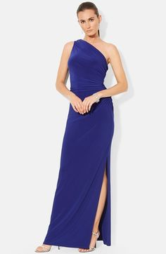 Free shipping and returns on Lauren Ralph Lauren Embellished Jersey One-Shoulder Gown at Nordstrom.com. A sparkling embellishment adorns the shoulder of a sinuous stretch-jersey gown saturated in a beautiful hue. Shirring at one side creates flattering dimension while the floor-length column skirt, eased by an alluring side slit, enhances the long, lean silhouette.